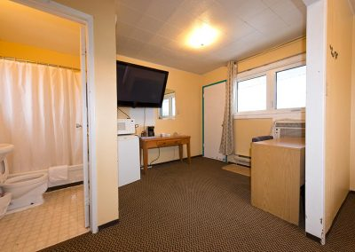Interior view of one of the 385 motel rooms
